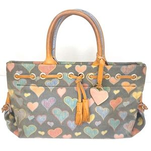 Dooney & Bourke Handbag Purse Cartoon Hearts Paint